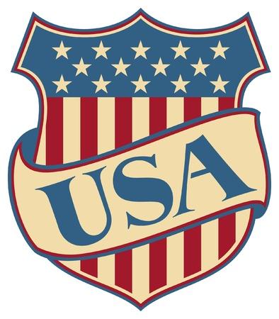 drapeaux am�ricain: �TATS-UNIS D'AM�RIQUE bouclier (USA - symbole patriotique am�ricain) Illustration