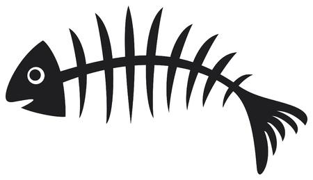 脊椎: 魚の黒魚の骨の骨の図は、魚の骨格  イラスト・ベクター素材