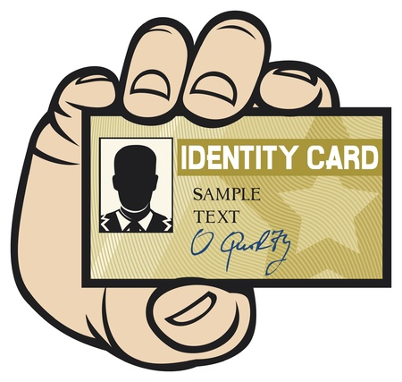 identification card: hand holding ID card