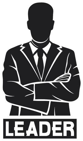 silueta masculina: líder exitoso hombre de negocios