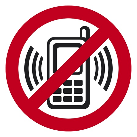 vector sin teléfono celular signo señal de advertencia que indica los teléfonos celulares no deseados, firme de no hablar por teléfono