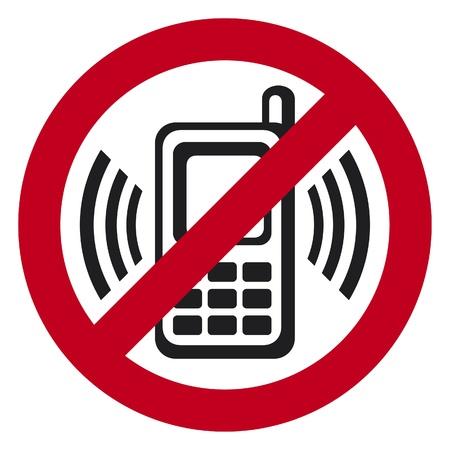 no cell: vector sin tel�fono celular signo se�al de advertencia que indica los tel�fonos celulares no deseados, firme de no hablar por tel�fono Vectores