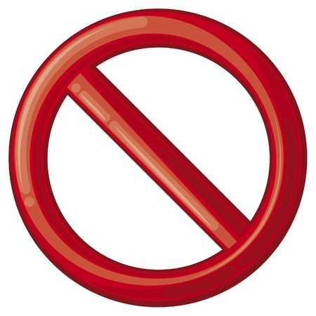 direction signs: not allowed sign  prohibition sign, no sign, interdiction sign, forbidden circle  Illustration