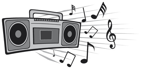 vector illustration cassette tape recorder Vector