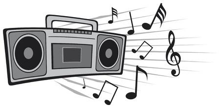 speaker system: vector illustration cassette tape recorder Illustration