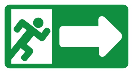 escape: green exit emergency sign (emergency exit door - sign with human figure, emergency exit label, emergency exit icon)