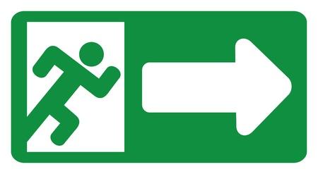 salida de emergencia: salida de emergencia verde se�al (puerta de salida de emergencia - se�al con figura humana, emergencia etiqueta de salida, icono salida de emergencia) Vectores