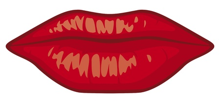 sensuality lips (red lipstick, kiss lips) Illustration