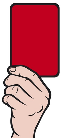 Soccer referees hand with red card (Soccer referees hand with red card)