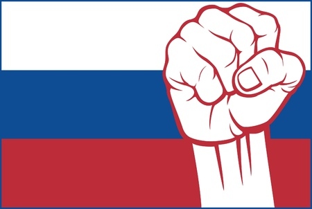 revolution: russia fist (flag of russia)