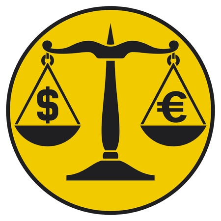 dollar versus euro  dollar and euro on the balance  Stock Vector - 15561143