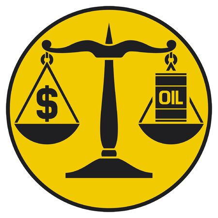 fuel crisis: scales of justice balancing oil with the dollar  classic scales of justice with an oil barrel and dollar sign