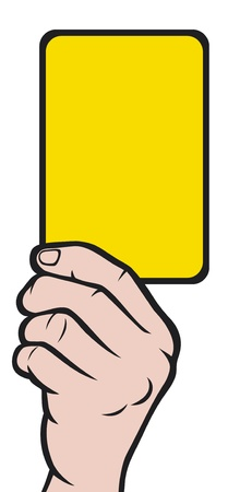 green and yellow: Soccer referees hand with yellow card  Soccer referees hand with yellow card  Illustration
