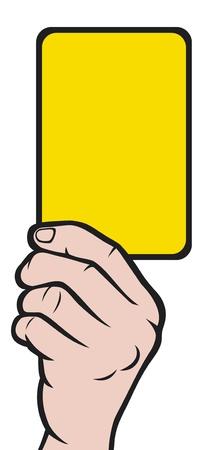 hand holding card: Voetbal scheidsrechters hand met gele kaart Voetbal scheidsrechters hand met gele kaart Stock Illustratie