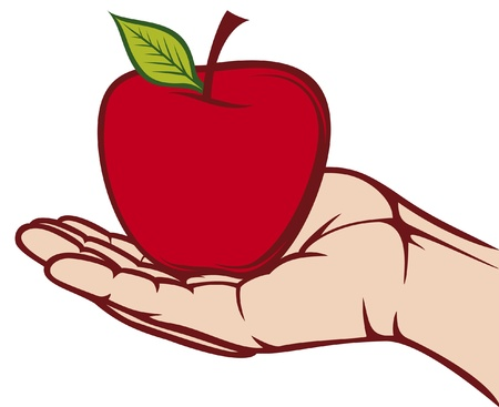 fruit clipart: apple in the hand  hand holding apple