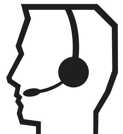 call center icon: headset symbol  man headset Illustration