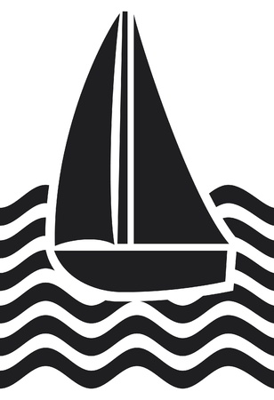 stylized yacht  sailboat symbol, sailboat icon  Vector