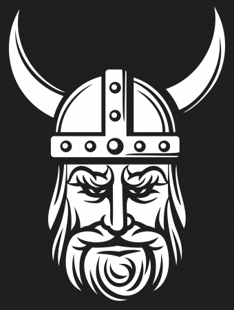 vikingo: jefe vikingo de dibujos animados mascota de vikingo con casco con cuernos, con el casco de vikingo