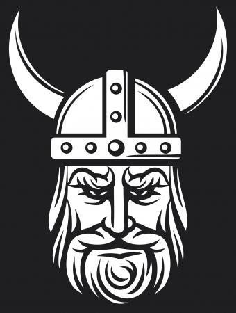 pohanský: viking viking hlava maskot karikatury s rohaté přilby, viking s přilbou