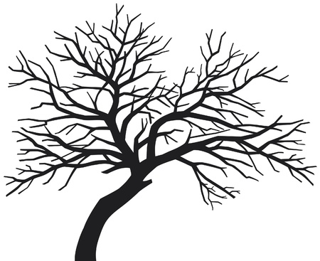 black tree (tree silhouette, scary bare black tree silhouette, tree without leaves) Vector