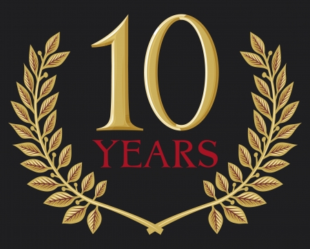 10 years: golden laurel wreath 10 years (ten years jubilee, 10 years anniversary)
