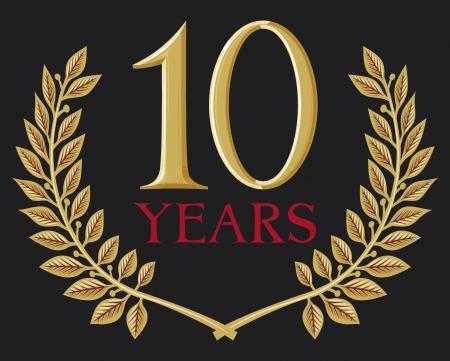number 10: golden laurel wreath 10 years (ten years jubilee, 10 years anniversary)