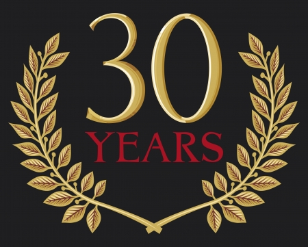 30 years: golden laurel wreath 30 years (thirty years anniversary, 30 years jubilee) Illustration