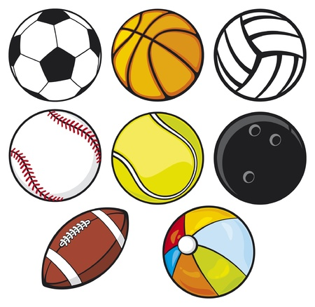 ball collection - beach ball, tennis ball, american football ball, football ball (soccer ball), volleyball ball, basketball ball, baseball ball, bowling ball