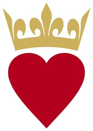 kalp: taç ile kalp (kalp ve taç) Çizim
