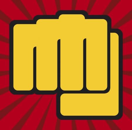 militant: fist (human hand punching) Illustration