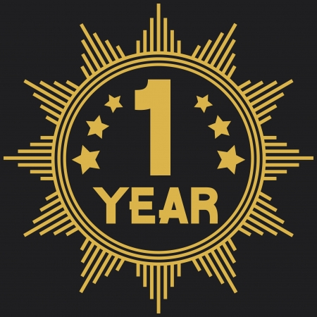 anniversary sale: 1 year symbol (one year anniversary, 1 year jubilee) Illustration