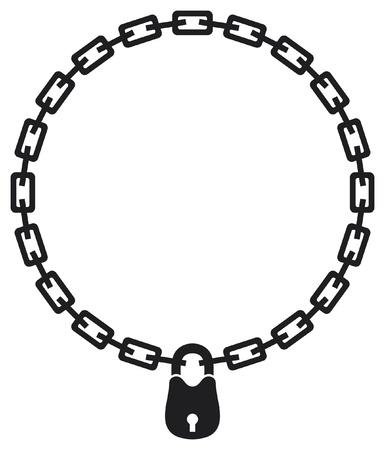 illustratie van ketting en hangslot silhouet