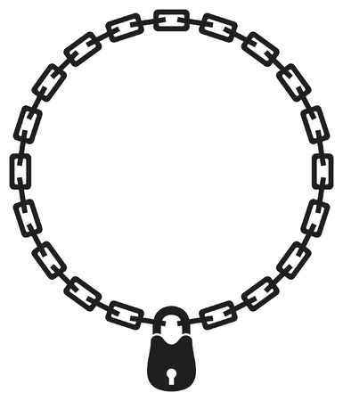 illustration of chain and padlock silhouette Vector