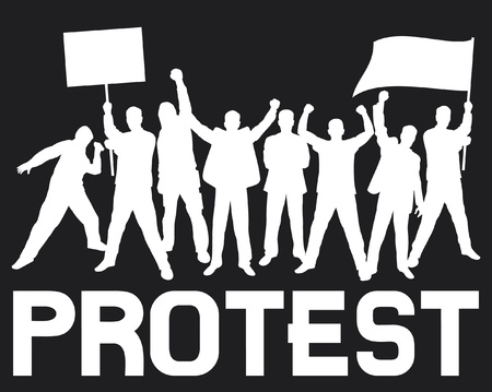 demonstrations: lots of furious people protesting (a group of people protesting, protest, demonstrator, protest man, demonstrations, protest, demonstrator, hooligan, fan, protest design, protest poster) Illustration
