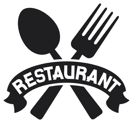 crossed fork and spoon (food icon, food symbol, restaurant label, restaurant symbol) Illustration