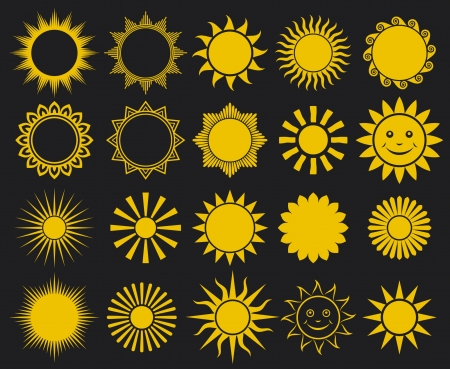 suns - elements for design (set of vector suns, suns collection) Stock Vector - 15575638