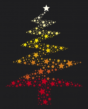Christmas Tree  abstract vector christmas tree with stars  Stock Vector - 15594660