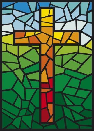 Croix de vitrail Vector Croix dans un style vitrail Vecteurs