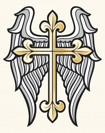 gold cross: vector illustration of christian cross and wings