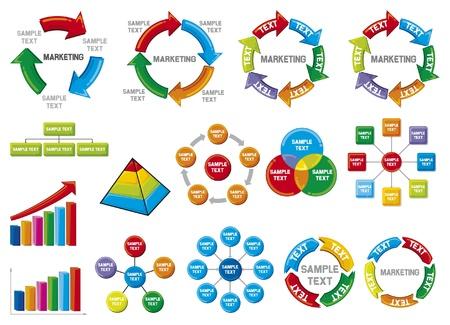 grafico vendite: Grafici di business diagramma di raccolta aziendali diagrammi di processo, grafico a barre, grafico affari, grafico cerchio, dei processi di business Vettoriali
