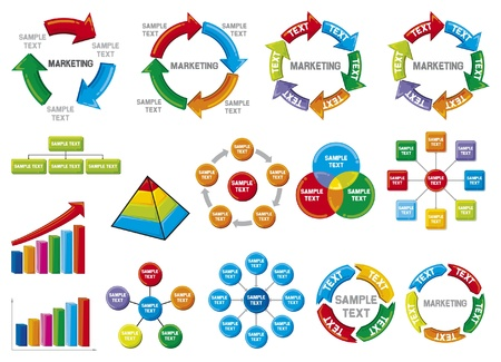 Graphic business diagram collection Business Process Diagramme, Balken, Business-Diagramm, Kreisdiagramm, Business Process