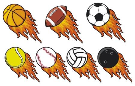 ボール: 火災ボール コレクション - テニス ・ ボール、アメリカン フットボール ボール、サッカー ボール サッカー ボール、バレーボールのボール、バスケット ボール、野球ボール、ボウリングのボール