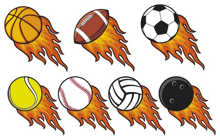 basketball ball on fire: fire ball collection -  tennis ball, american football ball, football ball  soccer ball , volleyball ball, basketball ball, baseball ball, bowling ball Illustration