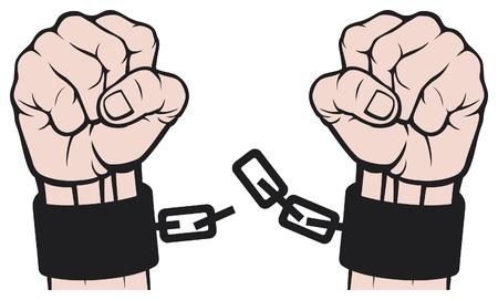 geketend: de hand gebroken kettingen boeien Stock Illustratie