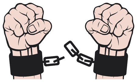 arrested: hand broken chains  fetters  Illustration