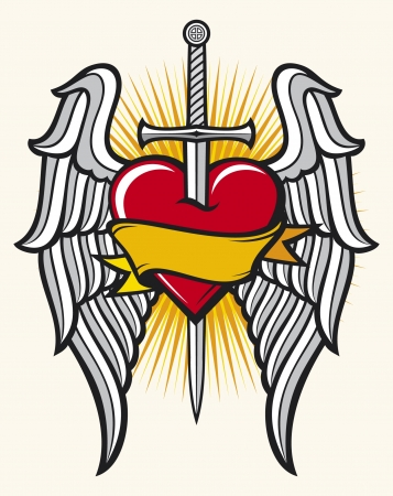 antique jesus: heart, sword and wings