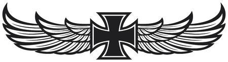 tatouage ange: croix et les ailes
