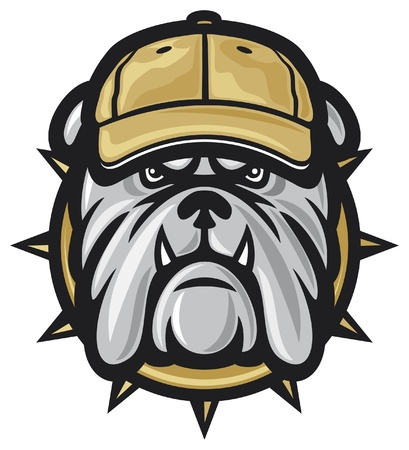 dog head and baseball cap Vector