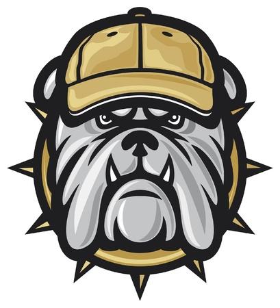 perro furioso: perro cabeza y gorra de b�isbol Vectores