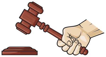 justice hammer: wooden gavel in hand  hand holding judge s gavel, gavel, hammer of judge or auctioneer, judge gavel  Illustration